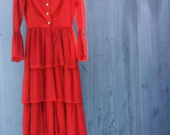 Vintage 70s Red and White Polka Dot Ruffle & Bell Sleeve Maxi Dress