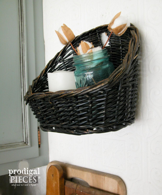 Vintage Black Wicker Wall Mounted Basket Bathroom Storage