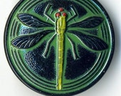 Czech black glass button with green and yellow dragonfly  - size 14, 31.5 mm  FCB 1143