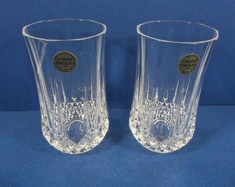Cristal d'Arques Longchamp (2) Flat Tumbler Water Glasses Original Stickers 24% Lead Crystal France JG Durand
