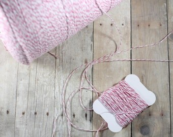 Pink Bakers Twine - 8.25 Yards of Pink and White Twine - Pink and White Bakers Twine - 300 inches Spool of Twine