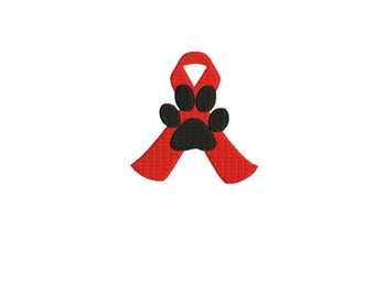 embroidery design Ribbon with Dog Paw embroidery file