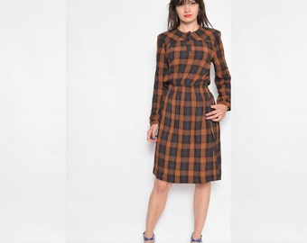 Vintage 80's Plaid Brown Long Sleeve Midi Dress - Extra Small