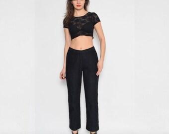 Vintage 90's Eyelet Black Pants