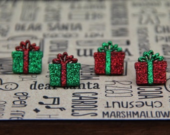 Christmas Green and Red Present Stud Earrings!