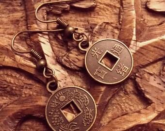 Feng Shui Coin Earrings