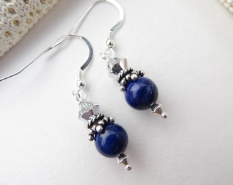 Lapis Lazuli Earrings, Cobalt Blue Lapis Earrings Sterling Silver Earrings Swarovski Crystal Earrings Semi Precious Gemstone Silver Earrings