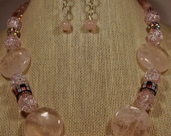 Pale pink statement necklace and earring set