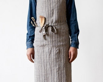 Blue Stripe Stone Washed Linen Chef Apron