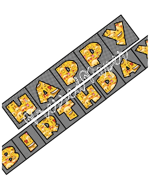Emoji Printable Happy Birthday Banner Templates