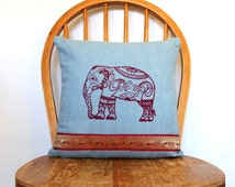 Elephant Pillow Cover - Decorative Pillows - Boho Pillow Cover - Cushion Covers - Housewarming Gift Ideas - Accent Pillow Cover