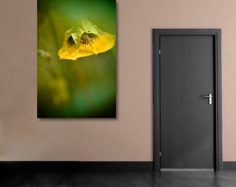 Yellow Flower Photograph, Yellow and Green Wild-Flower Photography, Vertical Wall Art, Floral Picture, Botanical Fine Art Nature Photo Print