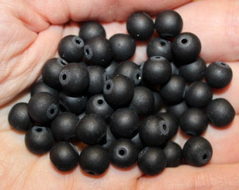 50 frosted glass beads, 8 mm, hole 1 mm, black, round