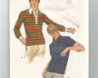 "3497 Butterick Sewing Pattern Mens Close Fitting Shirt 40"" Chest Vintage 1970s"