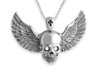 Angel of Death Human Skull with Wings Skeleton Head and Cross Gothic Style Charm Pendant Necklace #925 Sterling Silver #Azaggi N0219S