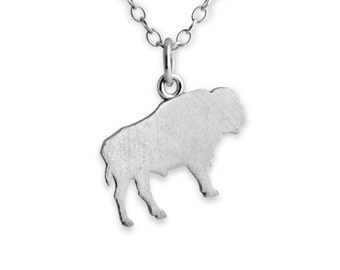 Buffalo/ Bison Charm Pendant Necklace #925 Sterling Silver #Azaggi N0376S