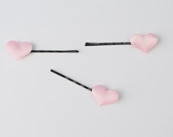 Set of 3 Tiny Pink Heart Love Bobby Pin Hair Accessories