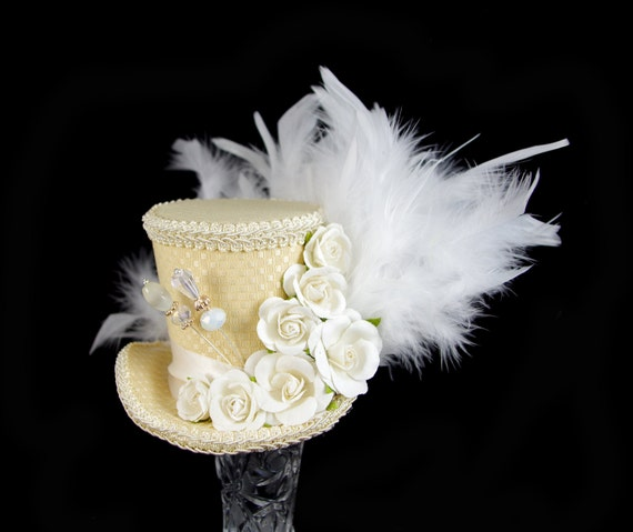 Pale Yellow, Cream, and White Paper Flower Medium Mini Top Hat Fascinator, Alice in Wonderland, Mad Hatter Tea Party, Derby Hat