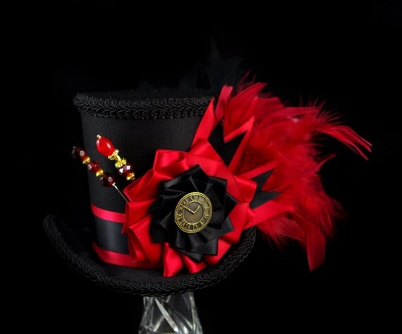 Red and Black Cockade Steampunk Large Mini Top Hat Fascinator, Alice in Wonderland, Mad Hatter Tea Party, Derby Hat