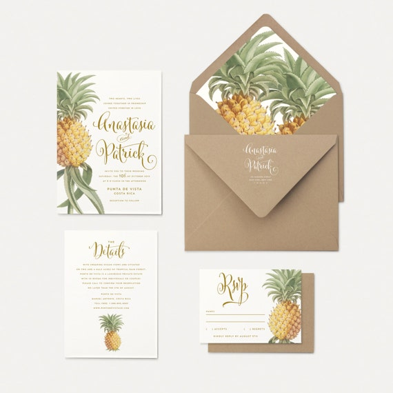pineapple wedding invitations With wedding invitations with pineapple