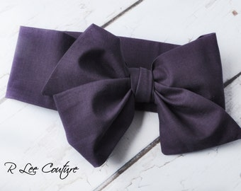 Eggplant Headwrap - Bow Headwrap -  Head Wrap - Baby Headwrap - Eggplant Hair Bow