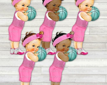 Vintage Baby Girl Basketball | Pink Jersey Turquoise Ball  Hightop Sneakers| 3 Skin Tones | Clipart  Instant Download