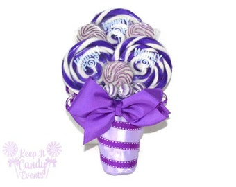 Small Purple Lollipop Bouquet, Purple Candy Bouquet, Bridesmaid Bouquet, Maid of Honor Bouquet, Purple Wedding, Fall Wedding, Nontraditional