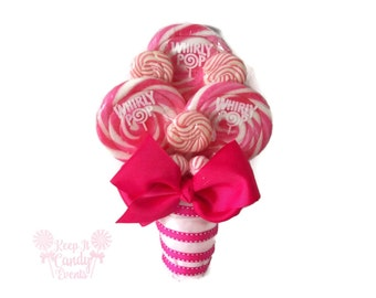 Pink Bridesmaid Lollipop Bouquet, Pink Wedding Ideas, Pink Valentines Day Wedding, Pink Bouquet, Pink Flower Bouquet, Small Bridal Bouquet