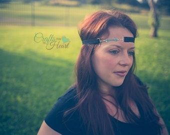 Arrow Headband - Turquoise Headband - Rhinestone Headband - Boho Headband - Festival Headband - Tribal Headband - Turquoise Arrow