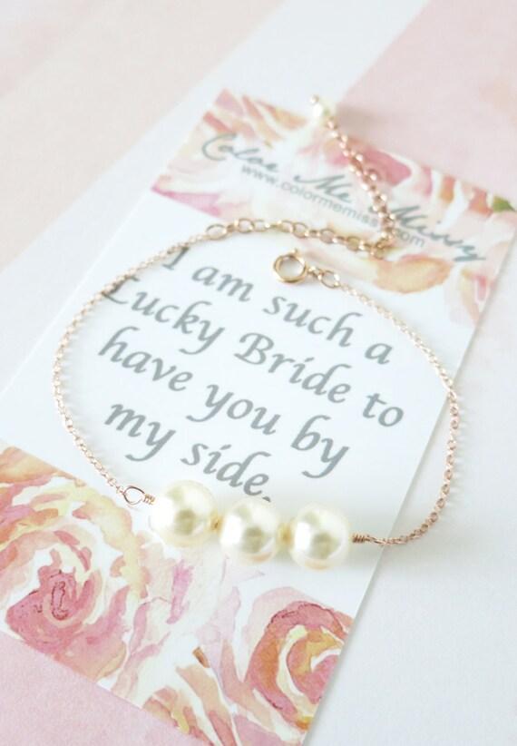 Rose Gold Filled Pearl Bracelet - Three pearls, best friend, friendship, bridesmaid, daughter, mother, bridal, flower girl bracelet