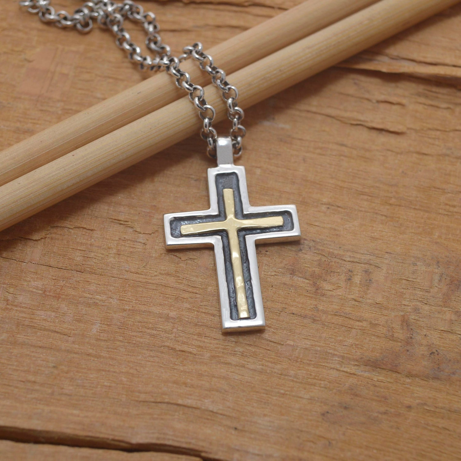 gold black cross necklace for men women minimalist sterling. Black Bedroom Furniture Sets. Home Design Ideas