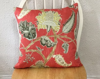 "Designer Fabric Waverly Asian Myth Twill Radish Throw Pillow Cover Same Fabric Both Sides 18""x18"""