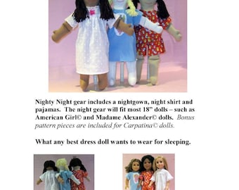 Nighty Night Doll Clothes Pattern - Printed Pattern