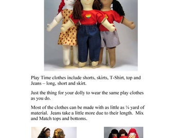 Digital - Play Time Doll Clothes Pattern for 18 Inch Dolls