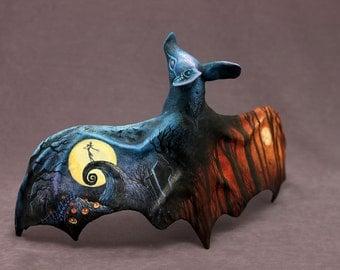 Halloween Nightmare before Christmas inspired bat sculpture OOAK