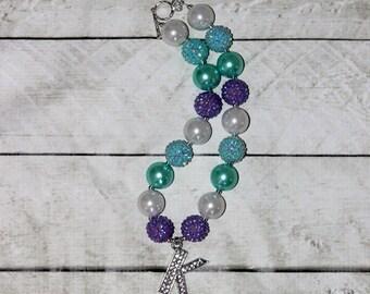 girls chunky necklace initial personalized girls purple aqua white bubblegum necklace girls chunky bubble gum bead necklace chunky bead