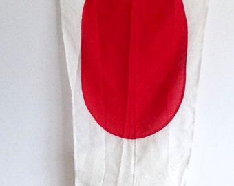 Vintage Nautical Military Signal Pennant Flag #1, HMAS Melbourne, White and Red Circle, Coastal Home