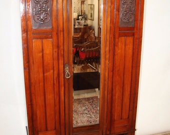 Gorgeous Art Deco Neo Classic Beveled Mirror Door Wardrobe Gentlemans Closet Insured safe Nation Wide Shipping Available