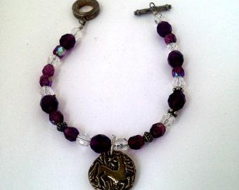 Purple and Crystal Beaded Bracelet with Unicorn Charm