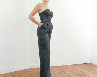 Women's gray jumpsuit, wide leg jumpsuit, women overalls, gray jumpsuit, strapless jumpsuit,
