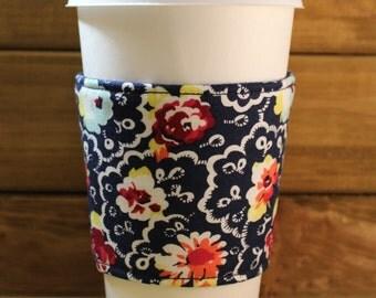 Fabric Coffee Cozy / Flower Coffee Cozy / Coffee Cozy / Tea Cozy