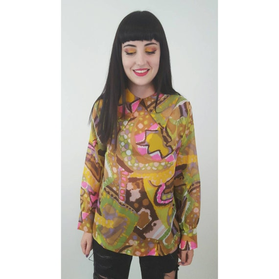 1970s Vintage Polyester Button Up Shirt - 1970s Small Medium Abstract  Pattern Blouse - BOHO Long Sleeve Pointy Collared Yellow Colorful Top