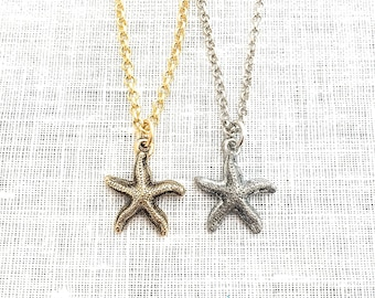 Starfish Pendant Necklace, Gold Silver Sea Star, Summer Beach Layering Jewelry, Beachy Necklaces for Women, A0010