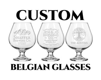 Custom Belgian Glass 14oz- Personalized Engraving- Tulip Snifter Beer Glass