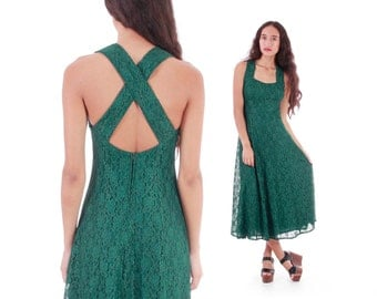 Vintage Green Lace Tea Length Dress Fit and Flare Retro Summer Party Dress Made in the USA Women's Size Small