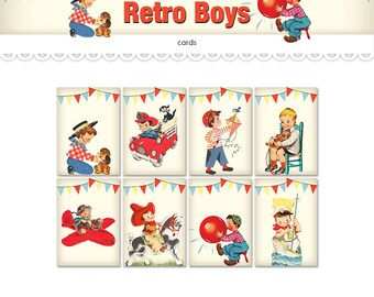 "Digital retro boys collage sheet / printable cards / ATCs, ACEOs / clipart / fireman, cowboy, pilot, sailor / 2.5"" by 3.5"" / craft supply"