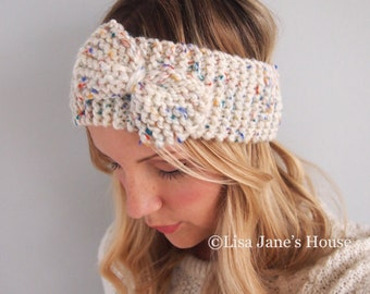 Cream Ivory Knit Bow HeadBand Knitted Ear Warmer Wrap Scarf Winter Hair Accessories Hat