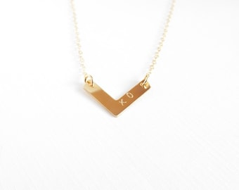 Chevron Bar Necklace, Monogram Necklace, 14kt Gold Filled Necklace Gift for Her