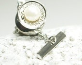 Beautiful delicate lace silver metal pearl tie tack. Wedding choice. Chain tack hardware