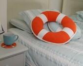 SALE -20% Lifebuoy Nautical Pillow Nautical Art, maritime island home decor, sailor style, white orange. Spectacular gift!